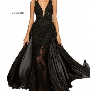 Black Sherri hill sheer lace prom dress